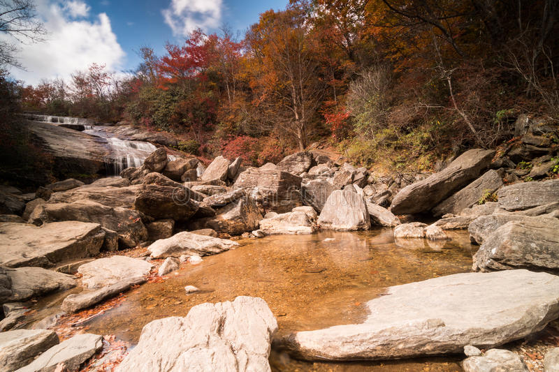 A waterfall in the Appalachians of western North Carolina. The Lower Falls at graveyard Fields on the Blue Ridge Parkway in the Appalachians of western North stock images
