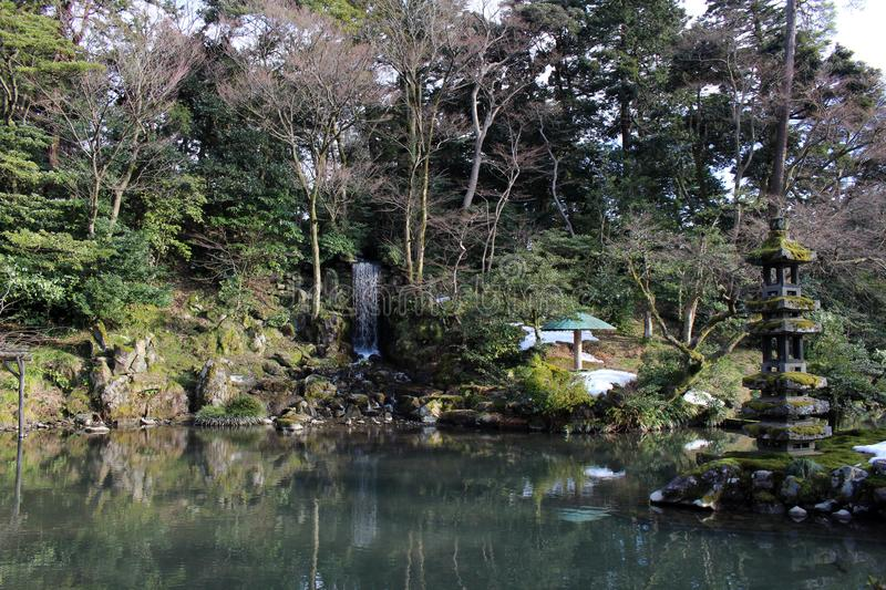 The waterfall around Kenrokuen, one of three most beautiful gardens in Japan. Taken in Kanazawa, February 2018 stock photos