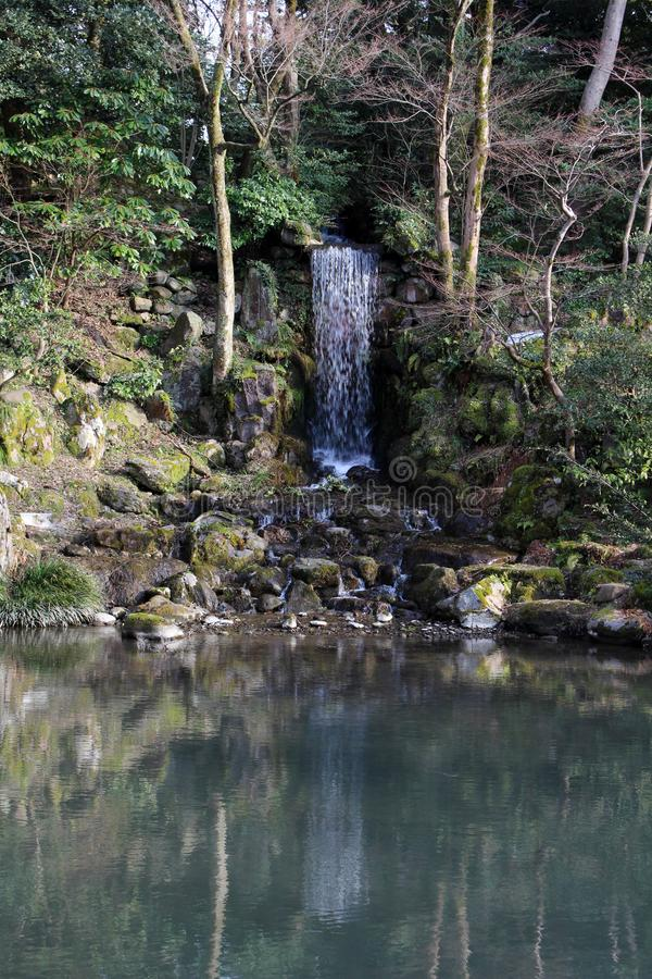 The waterfall around Kenrokuen, one of three most beautiful gardens in Japan. Taken in Kanazawa, February 2018 royalty free stock photo