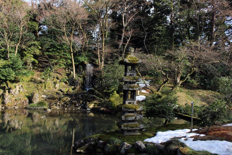 The waterfall around Kenrokuen, one of three most beautiful gardens in Japan. Taken in Kanazawa, February 2018 stock photo