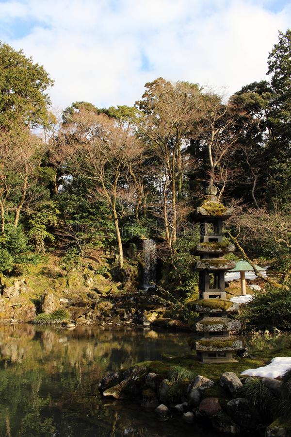 The waterfall around Kenrokuen, one of three most beautiful gardens in Japan. Taken in Kanazawa, February 2018 stock image