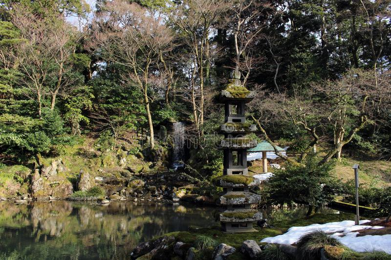 The waterfall around Kenrokuen, one of three most beautiful gardens in Japan. Taken in Kanazawa, February 2018 stock images