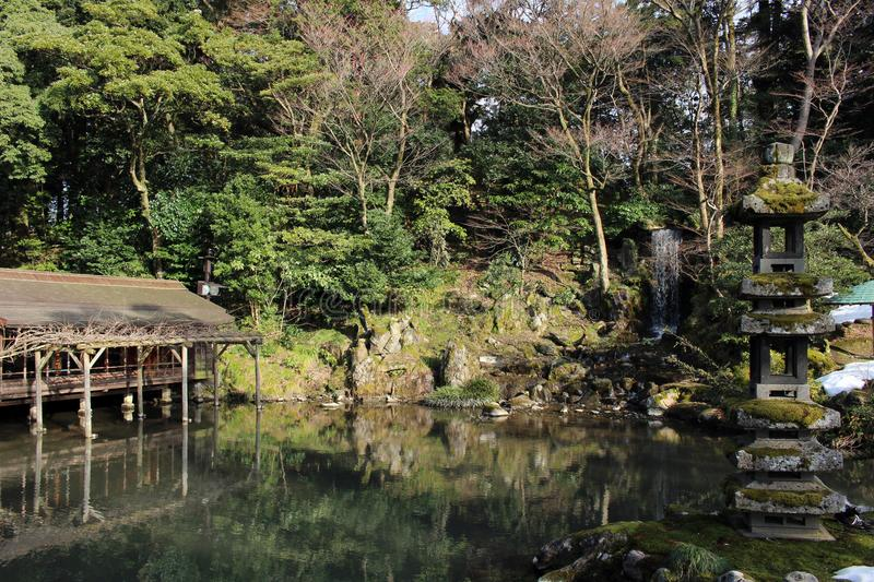 The waterfall around Kenrokuen, one of three most beautiful gardens in Japan. Taken in Kanazawa, February 2018 stock photography