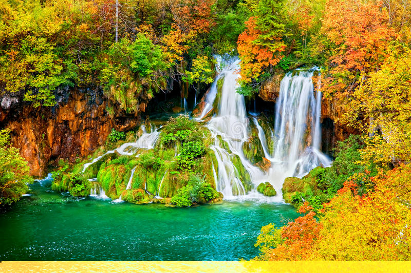 Waterfall in Autumn Forest stock image