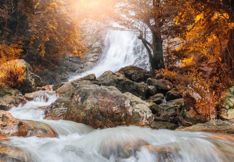 Waterfall , Autumn landscape stock photo
