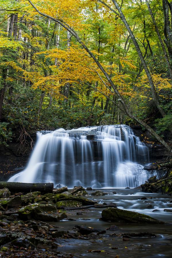 Waterfall in Autumn - Upper Falls of Fall Run Creek, Holly River State Park, West Virginia royalty free stock photography