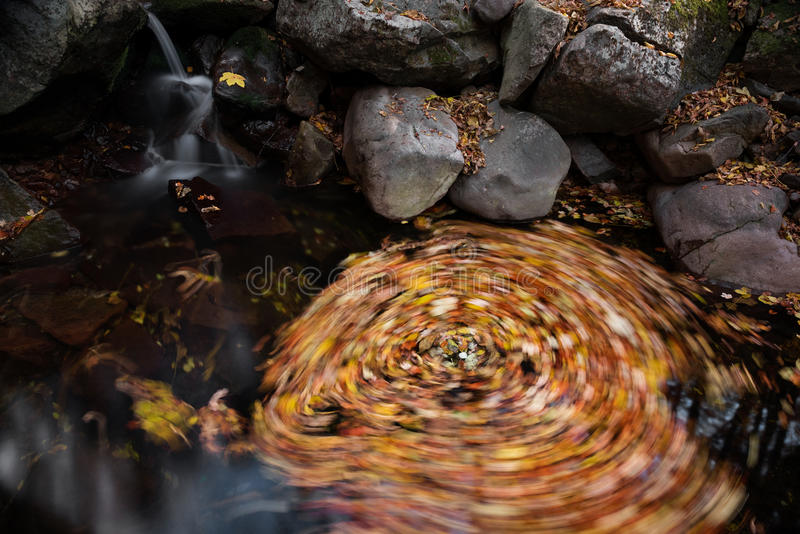 Waterfall autumn whirl. Detail of whirl under the waterfall stock images
