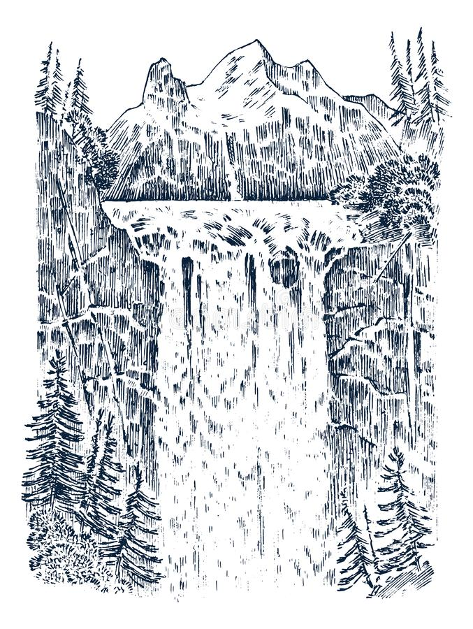 Waterfall in the background of the mountains. Landscape of nature in the forest. Engraved hand drawn in old sketch and vector illustration