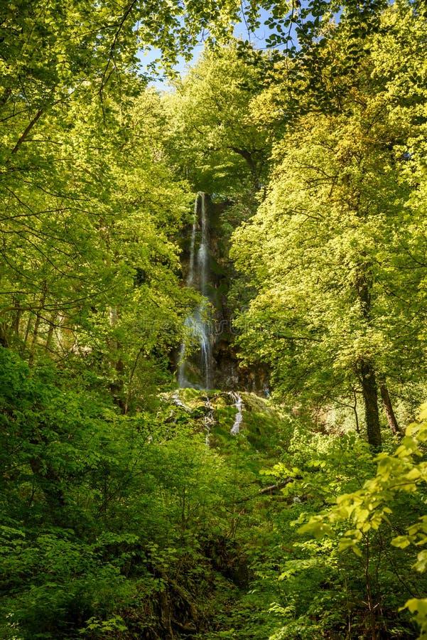 The waterfall of Bad Urach, Swabian Alb, Baden-Wuerttemberg, Germany, Europe stock images