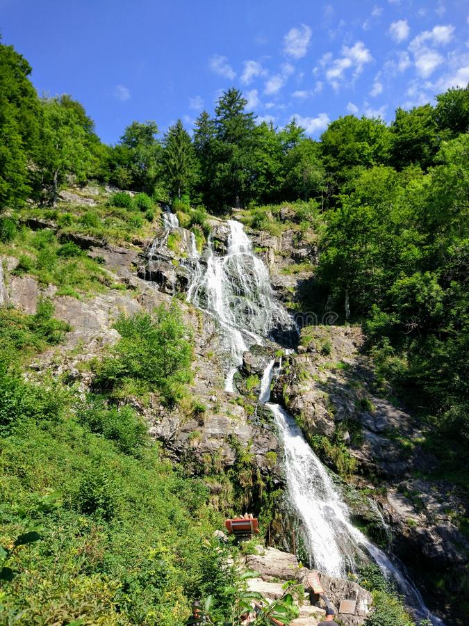Waterfall at the balck forest. Which is the largest one in Germany, during a sunny day on sommer 2017 royalty free stock images