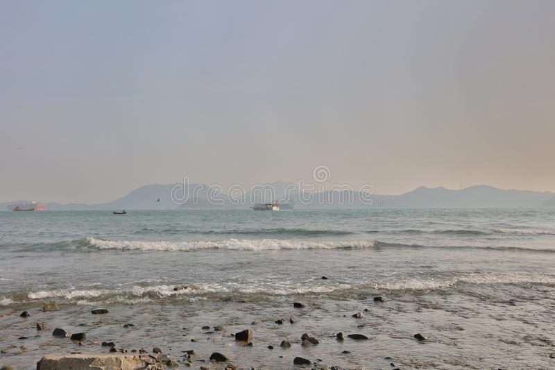 Waterfall Bay Park view of East Lamma Channel. From Waterfall Bay Park view of East Lamma Channel royalty free stock photo