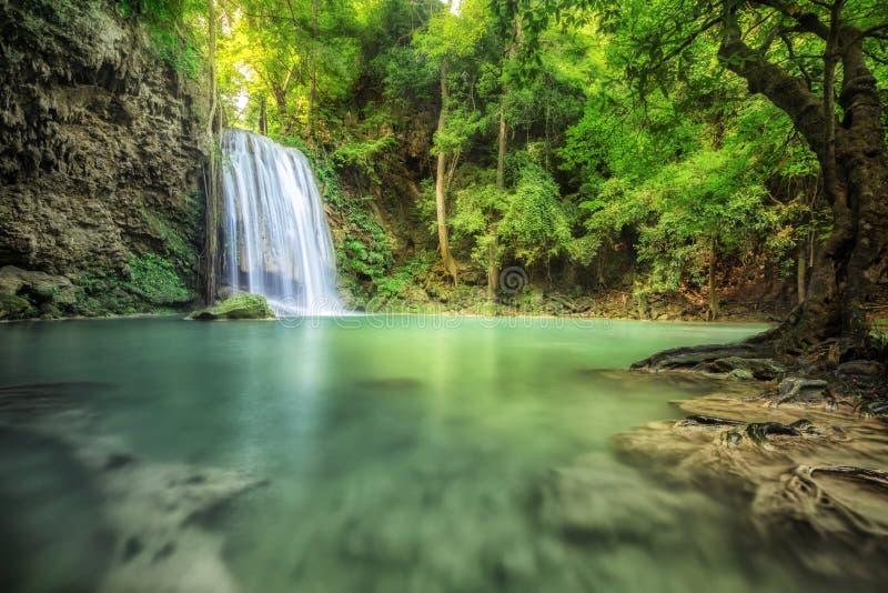 Waterfall beautiful (erawan waterfall). In kanchanaburi province asia southeast asia Thailand stock photos