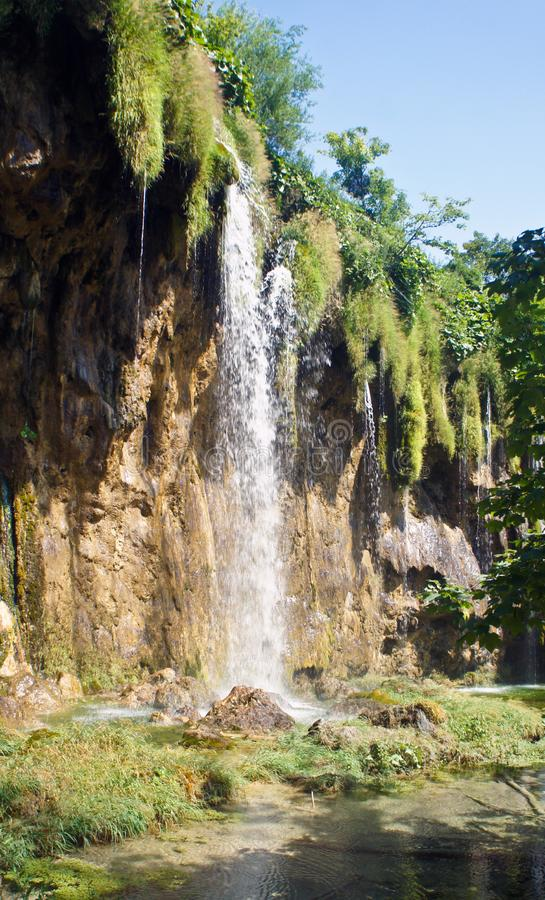 Waterfall and beautiful nature landscape, Plitvice Lakes in Croatia, National Park, sunny day stock photos
