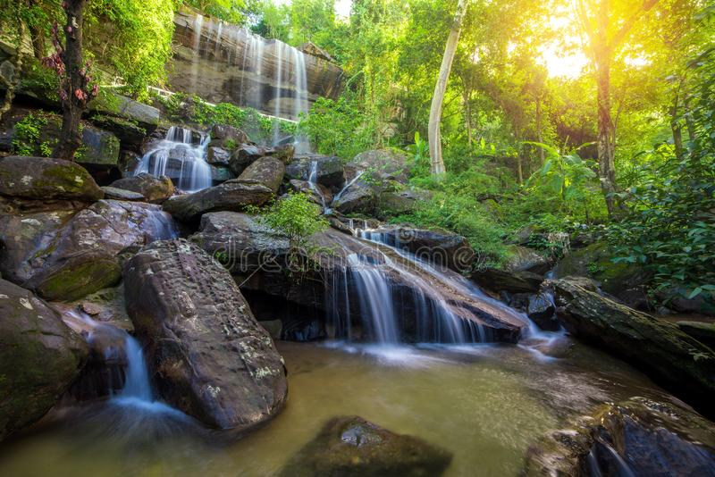 Waterfall beautiful in rain forest at Soo Da Cave Roi et Thailand stock photo