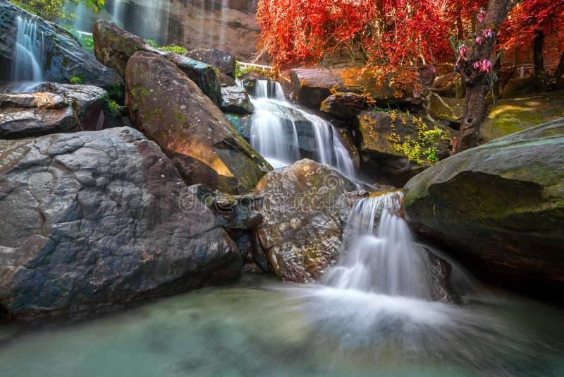 Waterfall beautiful in rain forest at Soo Da Cave Roi et Thailand.  royalty free stock image