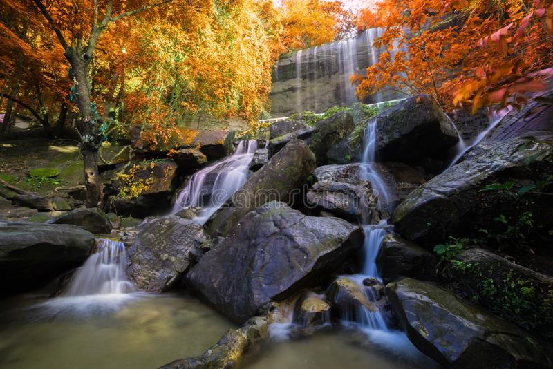 Waterfall beautiful in rain forest at Soo Da Cave Roi et Thailand.  stock photo
