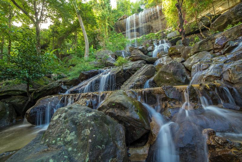 Waterfall beautiful in rain forest at Soo Da Cave Roi et Thailand royalty free stock photo