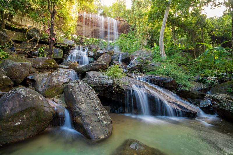 Waterfall beautiful in rain forest at Soo Da Cave Roi et Thailand.  stock images