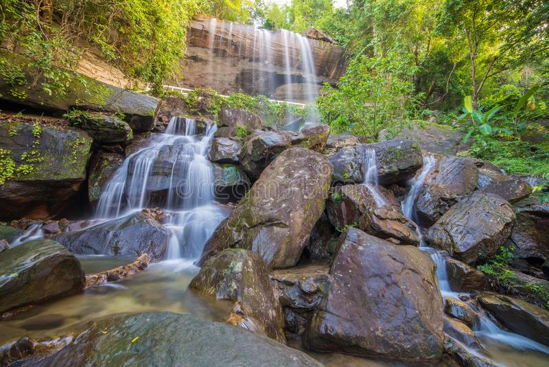 Waterfall beautiful in rain forest at Soo Da Cave Roi et Thailand.  stock photography