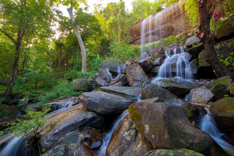 Waterfall beautiful in rain forest at Soo Da Cave Roi et Thailand stock images