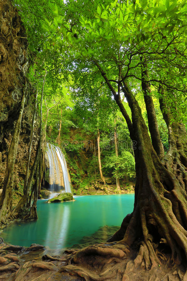 Download Waterfall Beautiful Scenery In The Tropical Forest Stock Image