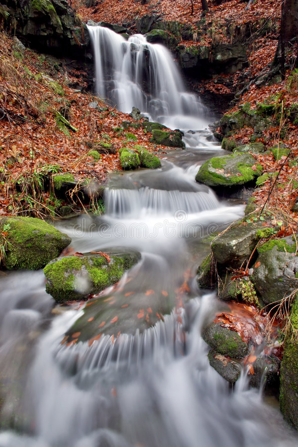 Waterfall in the Beskydy royalty free stock photo