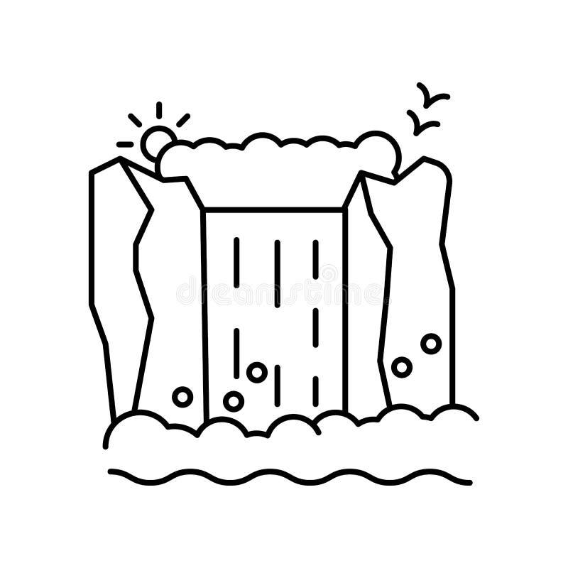 Waterfall, bird, mountain icon. Element of landscape thin line icon. Waterfall, bird, mountain icon. Element of landscape icon on white background stock illustration