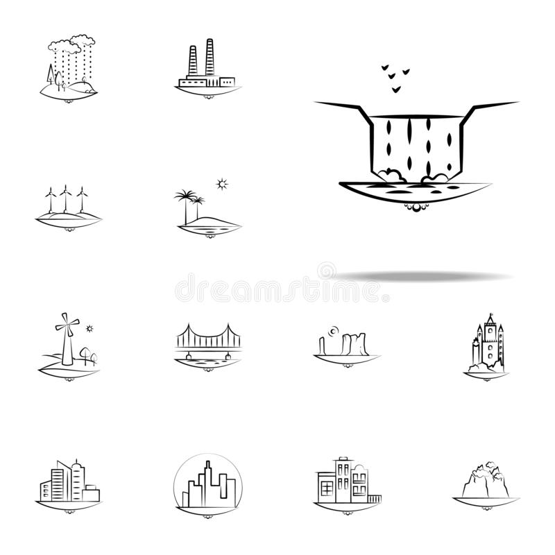 Waterfall birds water icon. Landspace icons universal set for web and mobile. On white background royalty free illustration