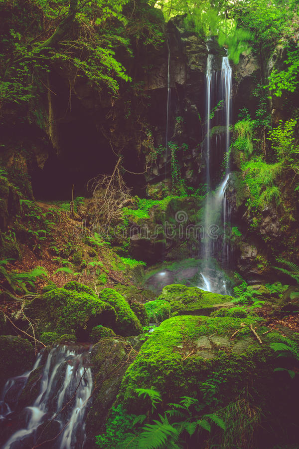 Download Waterfall And Black Cave , Auvergne, France Stock Image - Image of saint, summer: 47092243