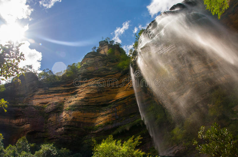 Waterfall in blue mountains stock photography