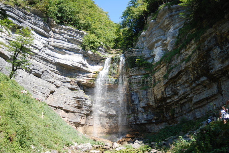 Download Waterfall and blue sky stock image. Image of mountain - 7085079