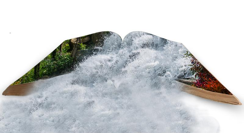 Waterfall in book isolated on white with clip path stock photography