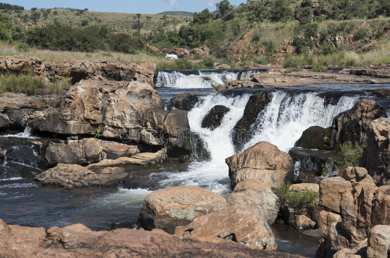 Waterfall at the bourkes potholes in south africa royalty free stock image