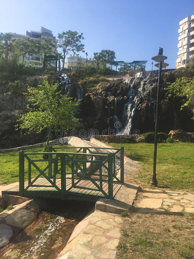 waterfall and bridge stock photography