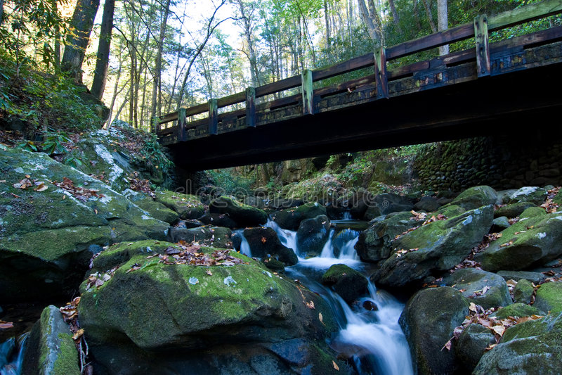 Waterfall and bridge royalty free stock images