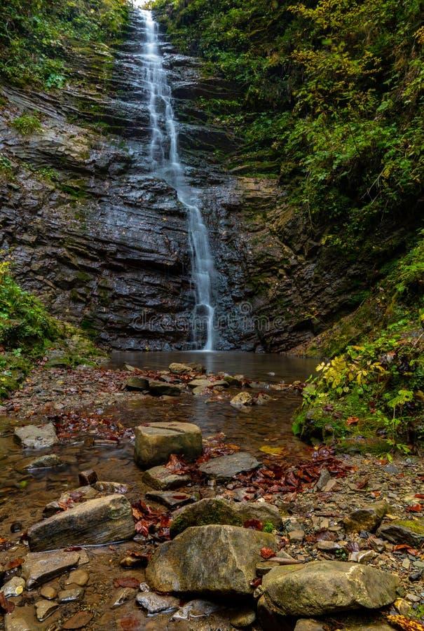 Waterfall in Carpathian mountains called Luzhkivskij near Velikij Rozhin village, Ukraine royalty free stock image