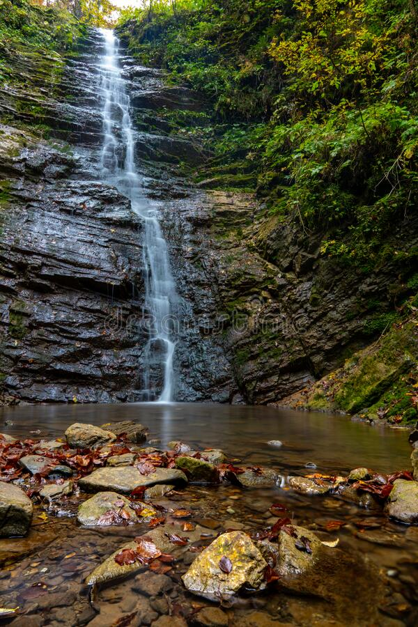Waterfall in Carpathian mountains called Luzhkivskij near Velikij Rozhin village, Ukraine royalty free stock photo