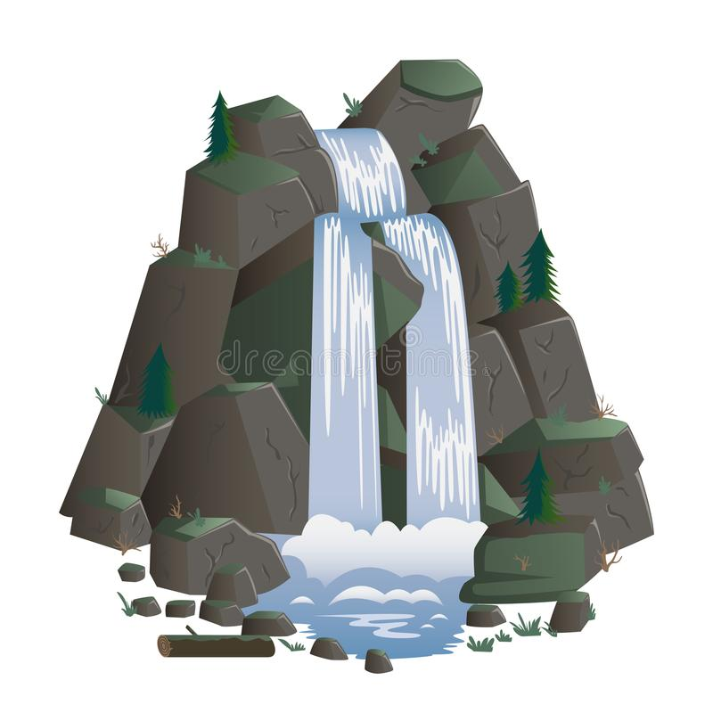 Waterfall. Cartoon landscapes with mountains and fir trees. royalty free illustration