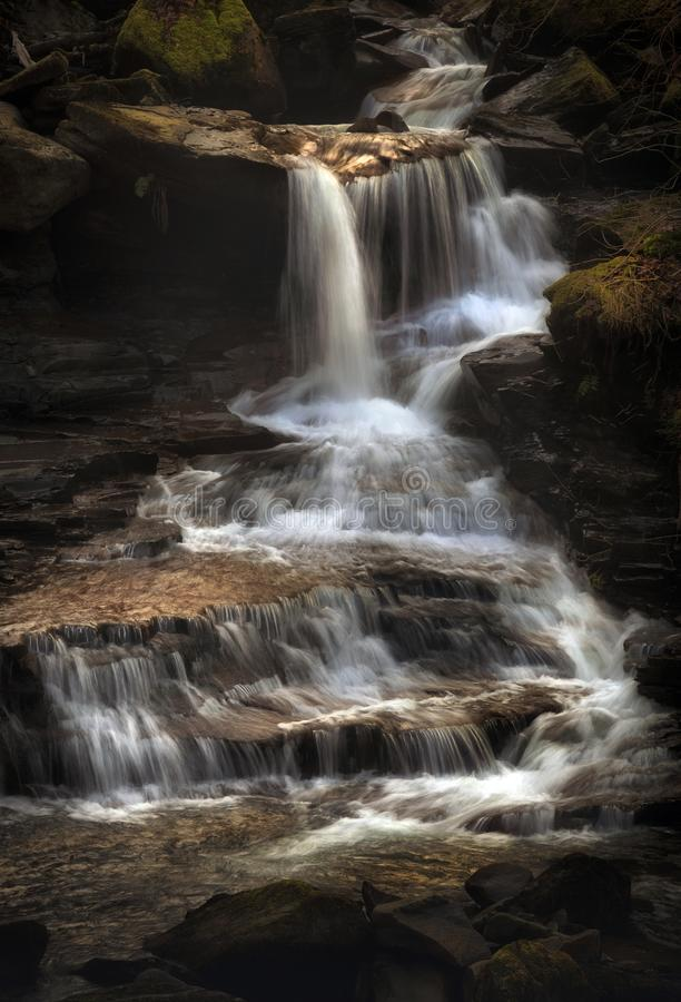 Melincourt Brook waterfall. The waterfall cascade at Melincourt Brook in Resolven, South Wales, UK stock images