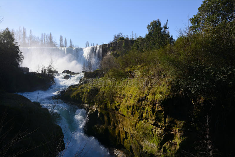 Waterfall. Cascade River Laja a tourist attraction in the region of Biobio, Chile royalty free stock photography
