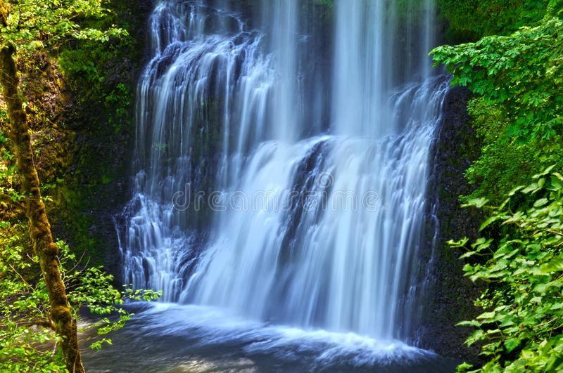 Waterfall cascading in Lower South Falls in Silver Falls State Park royalty free stock images