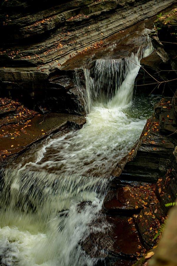 Waterfall cascading over Glen Gorge in Watkins Glen royalty free stock image
