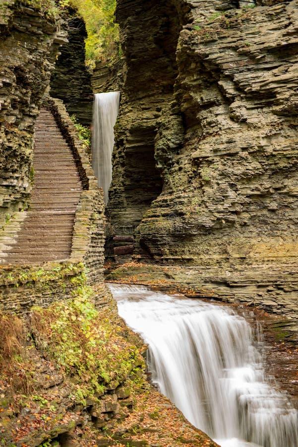 Waterfall cascading over Glen Gorge in Watkins Glen stock photo