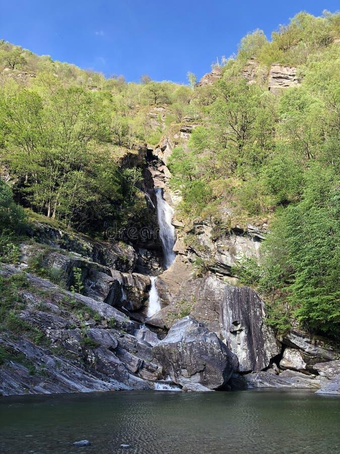 Waterfall Cascata Di Giumaglio of Wasserfall Cascata Di Giumaglio, Giumaglio de Maggia-Vallei of Valle Maggia of Maggiatal stock foto