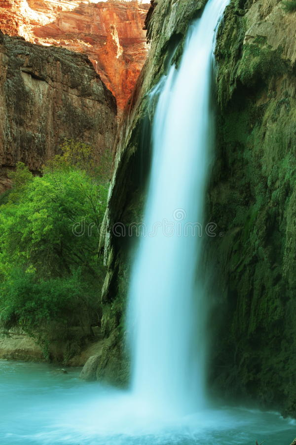 Waterfall in cave royalty free stock photo