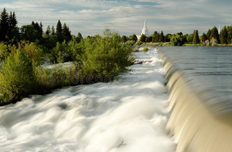 The waterfall that the city of Idaho Falls, Idaho is named after. It is a diversion wire to channel water to a hydroelectric plant royalty free stock image