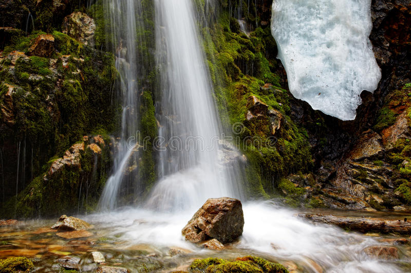 Waterfall close-up. For wallpaper or backgrounds royalty free stock photography