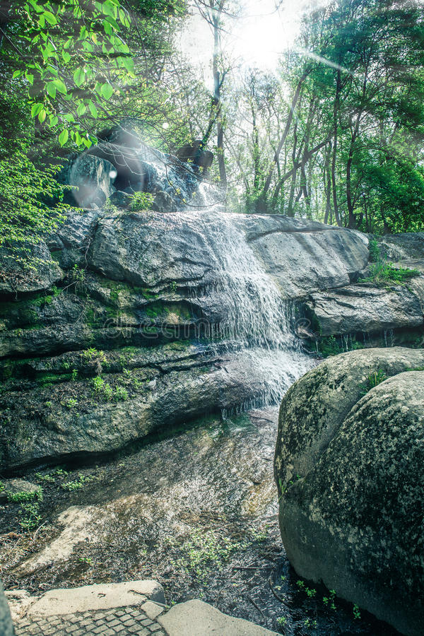 Waterfall close-up in Sophia park royalty free stock photo