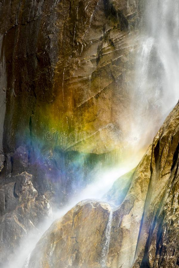 Free Waterfall Close Up With Rainbow Mist And Curves Of Granite Royalty Free Stock Photography - 107047657