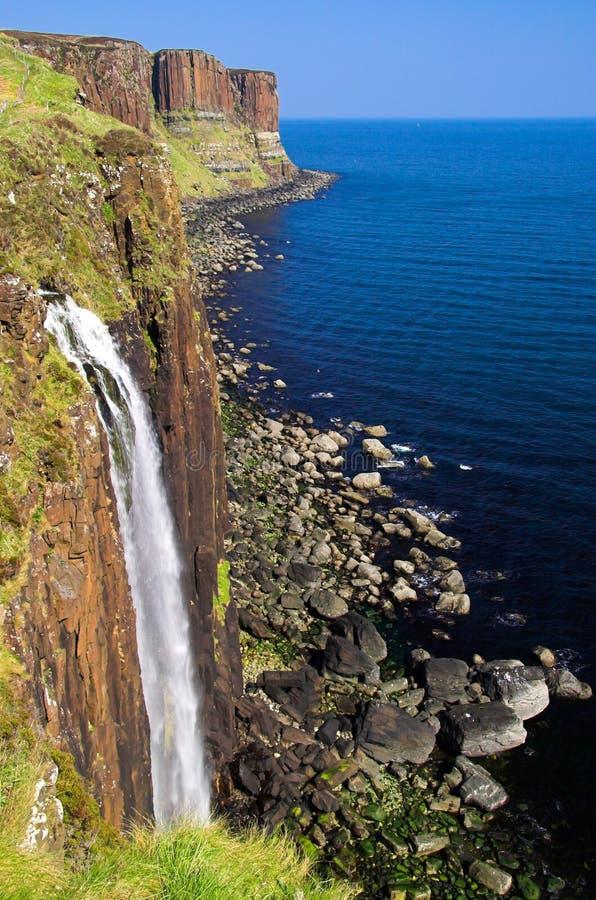 Waterfall and coastline at Kilt Rock, Isle of Skye, Scotland royalty free stock photos
